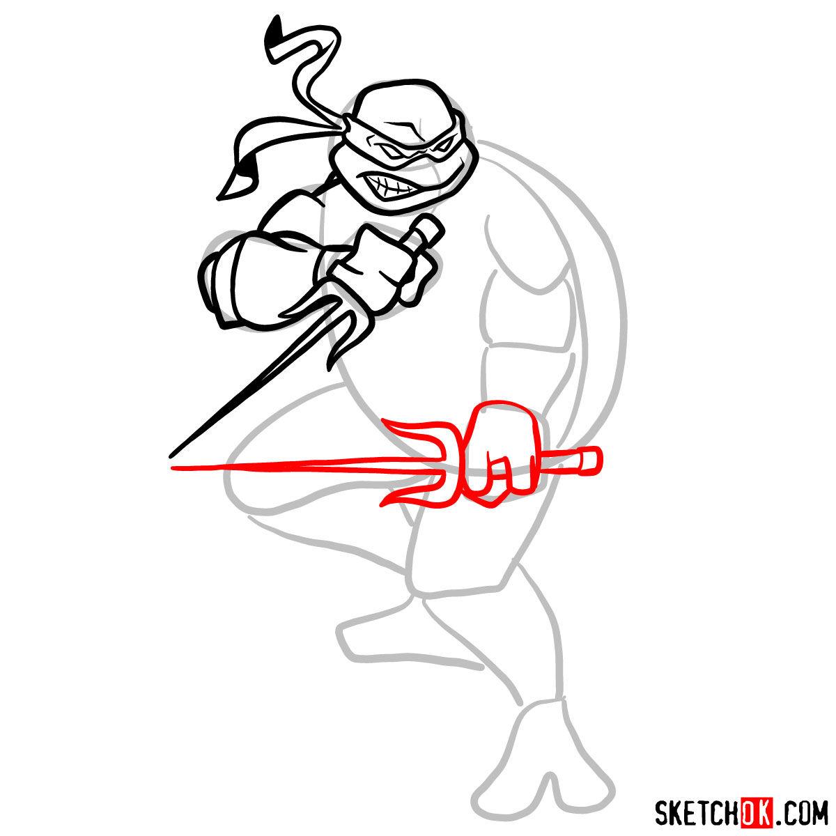 How To Draw Angry Raphael Teenage Mutant Ninja Turtle Step By