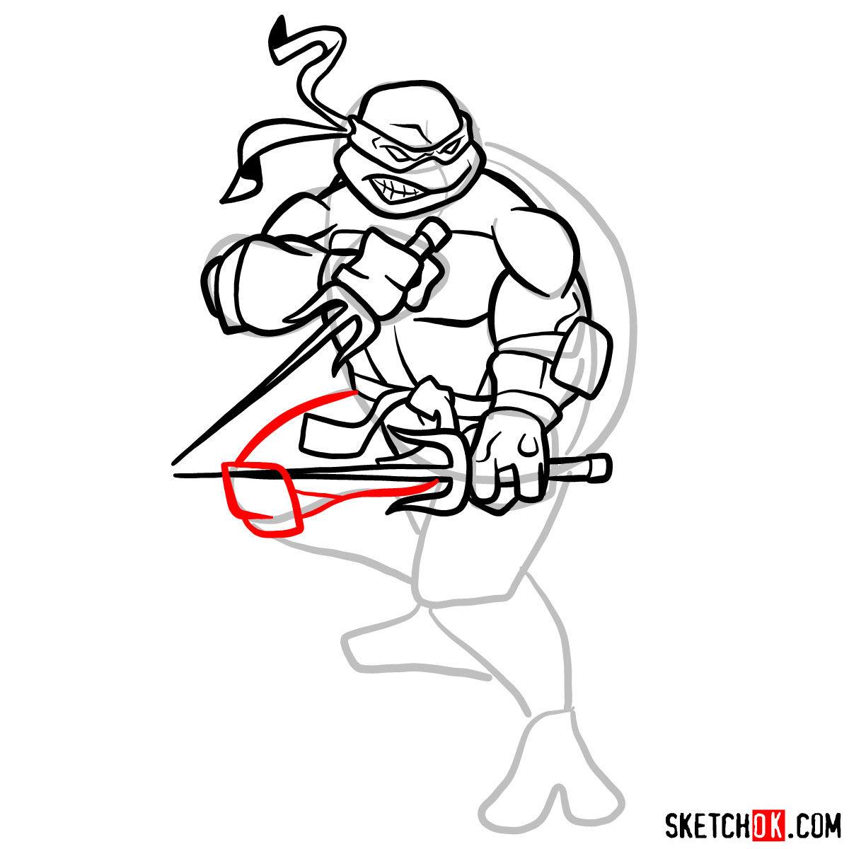 How to draw angry Raphael teenage mutant ninja turtle - step 10