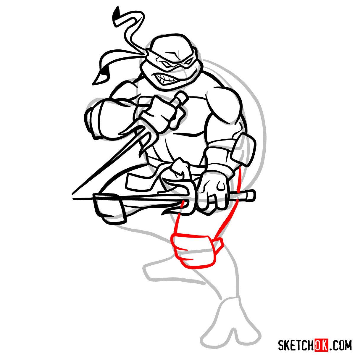 How to draw angry Raphael teenage mutant ninja turtle - step 11