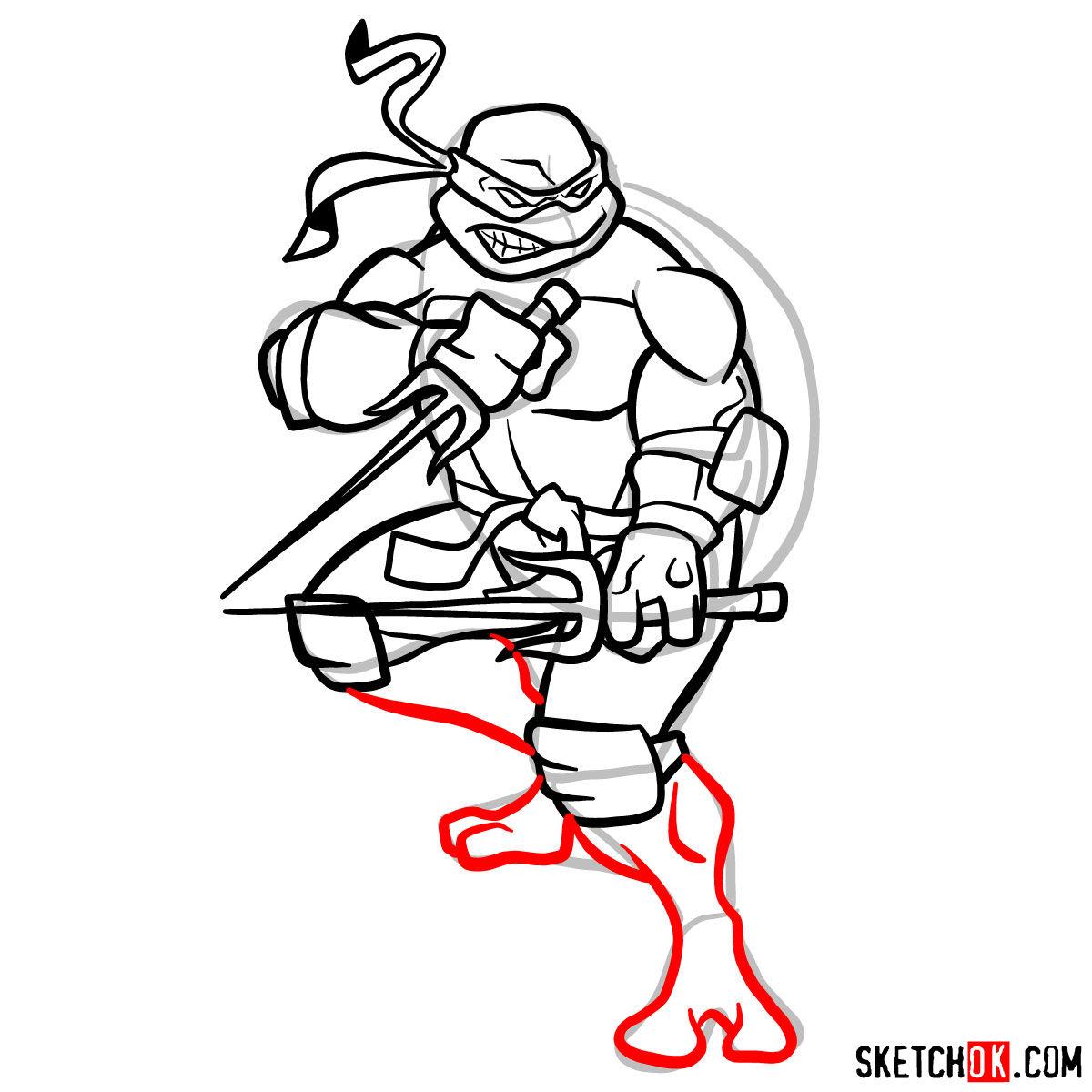 How to draw angry Raphael teenage mutant ninja turtle - step 12