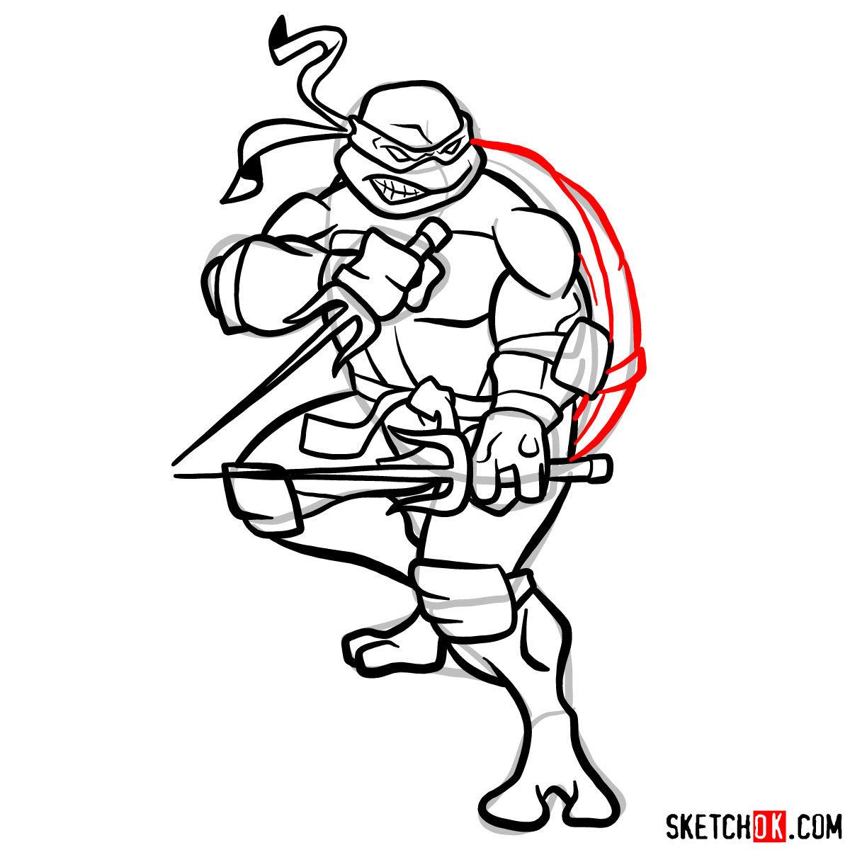 How to draw angry Raphael teenage mutant ninja turtle - step 13