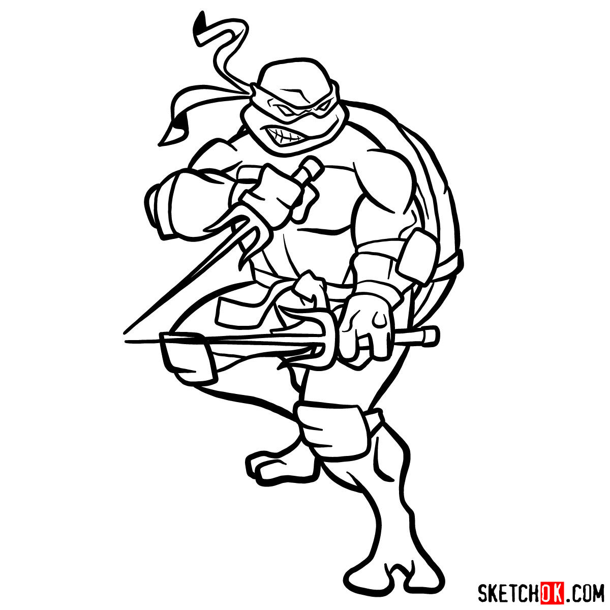 How to draw angry Raphael teenage mutant ninja turtle