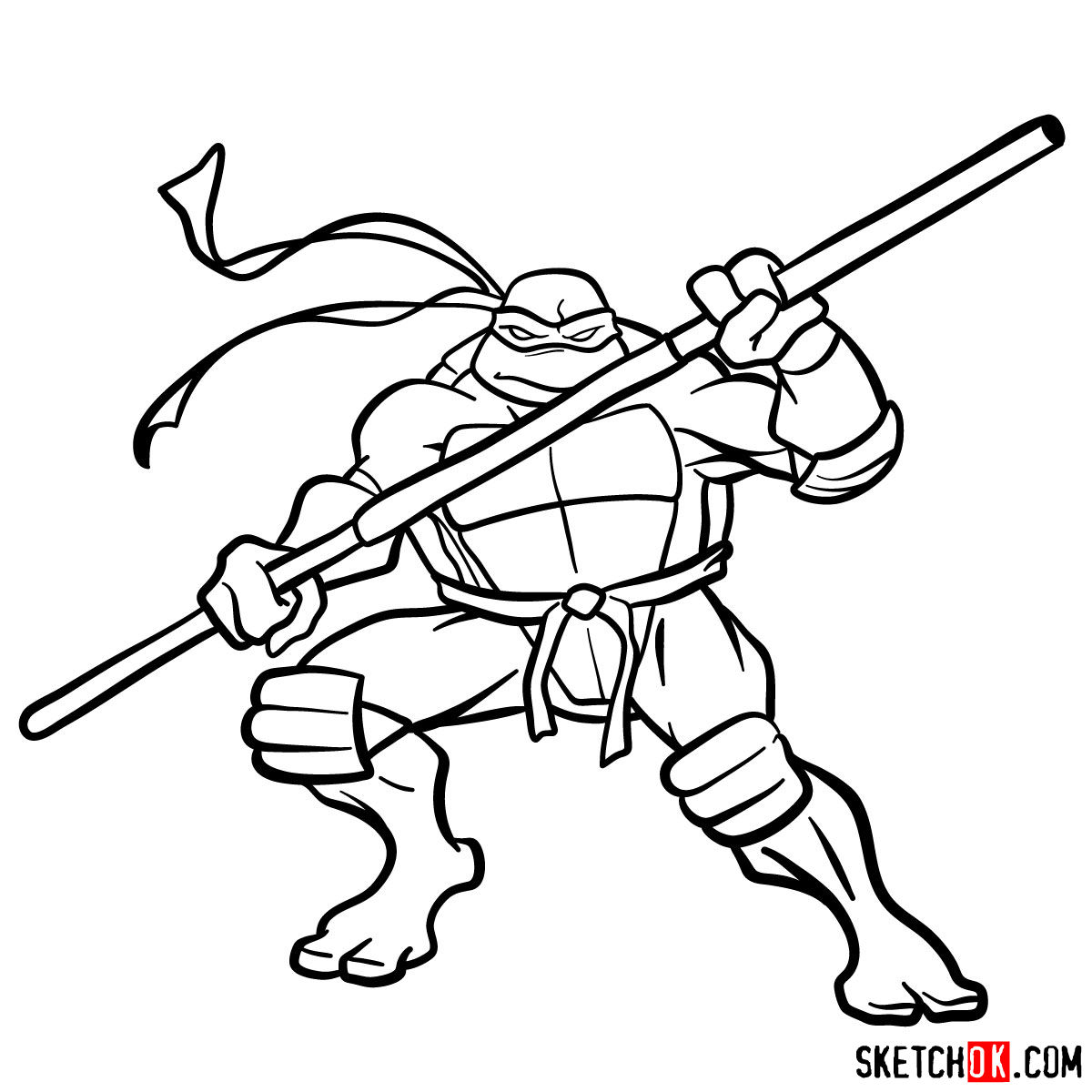 How To Draw Donatello Ninja Turtle Sketchok Step By Step Drawing Tutorials