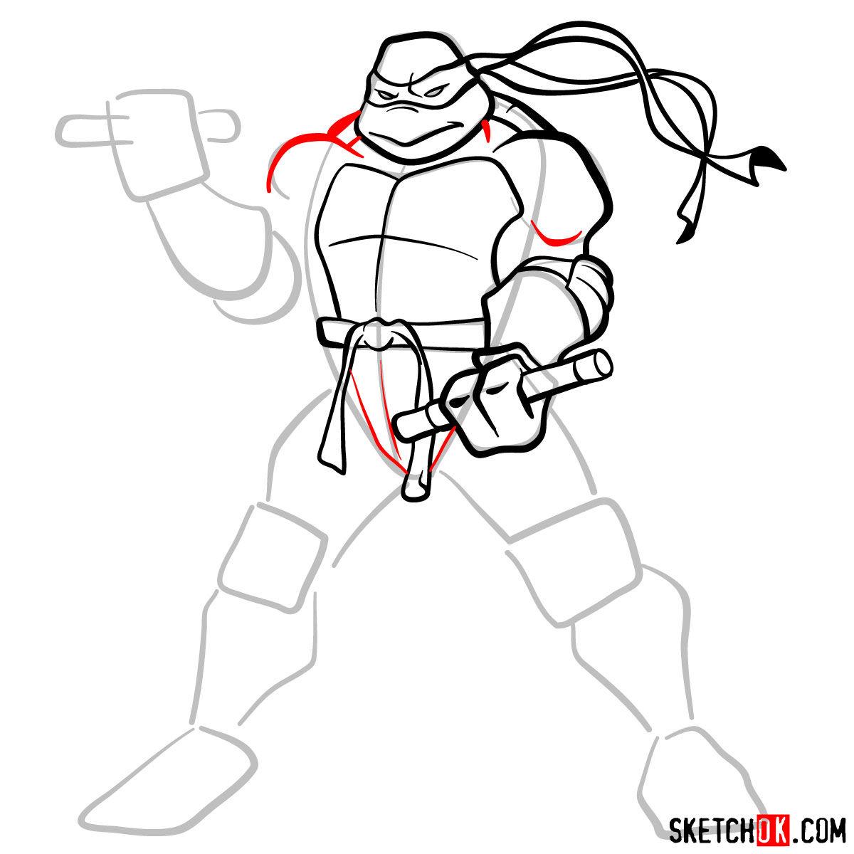 How to draw Michaelangelo ninja turtle - step 08