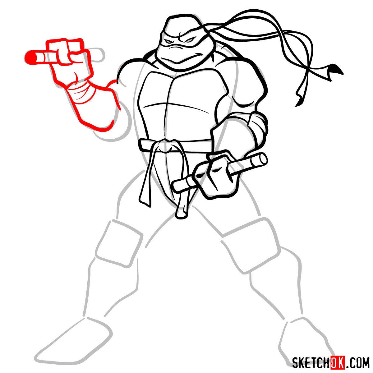 How to draw Michaelangelo ninja turtle - step 09