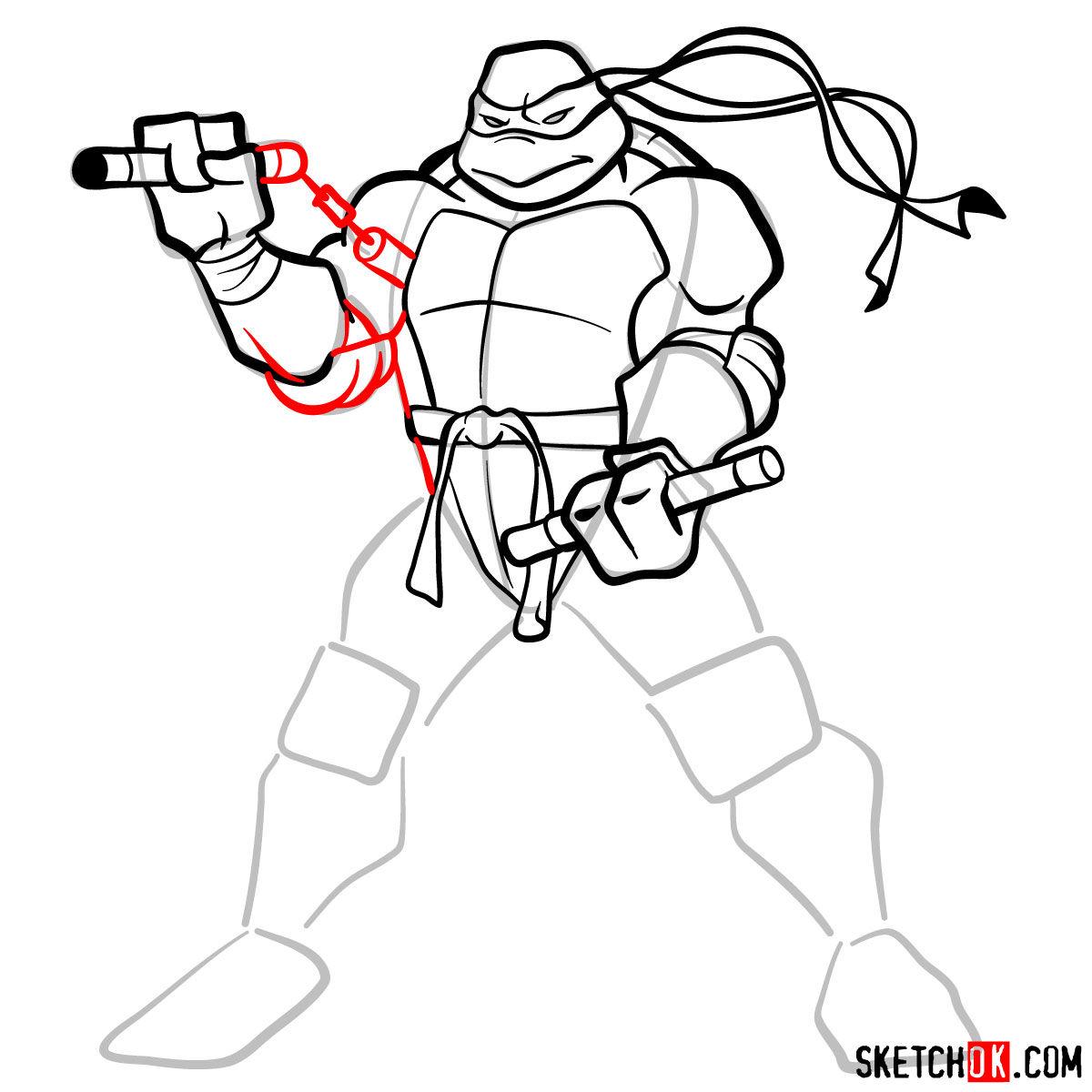 How to draw Michaelangelo ninja turtle - step 10