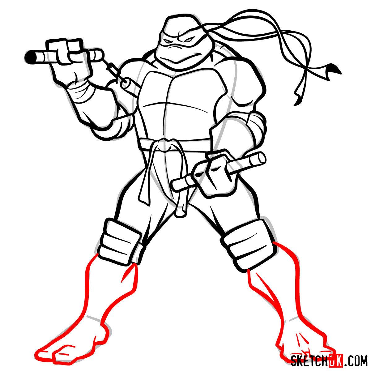 How to draw Michaelangelo ninja turtle - step 12