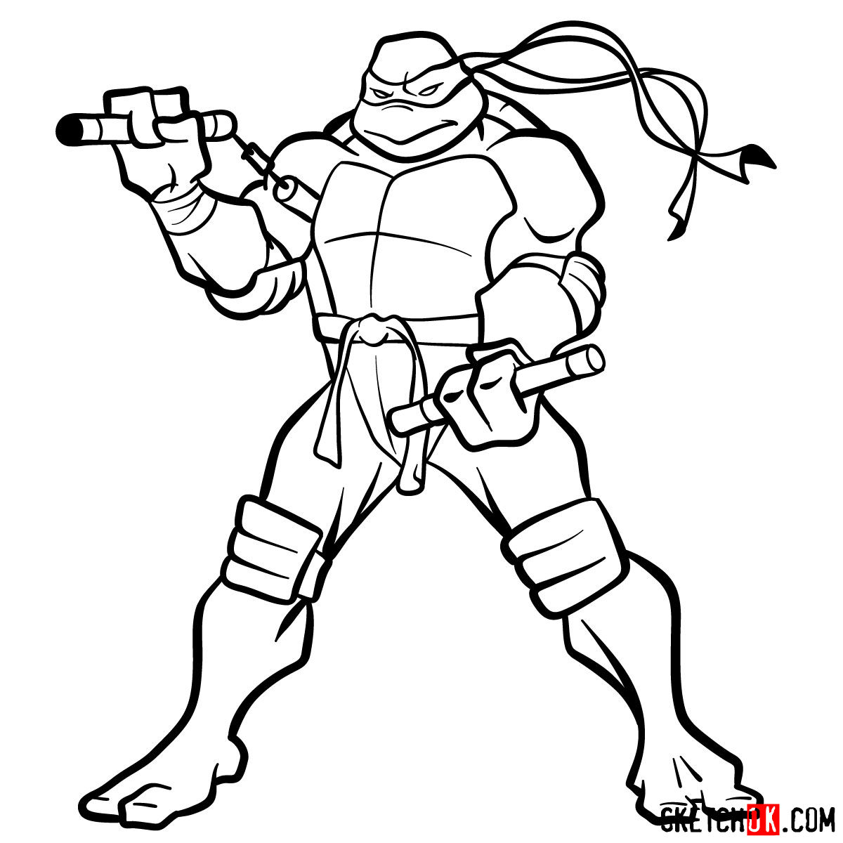 How to draw Michaelangelo ninja turtle