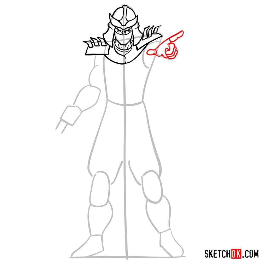 How to draw Shredder - step 08