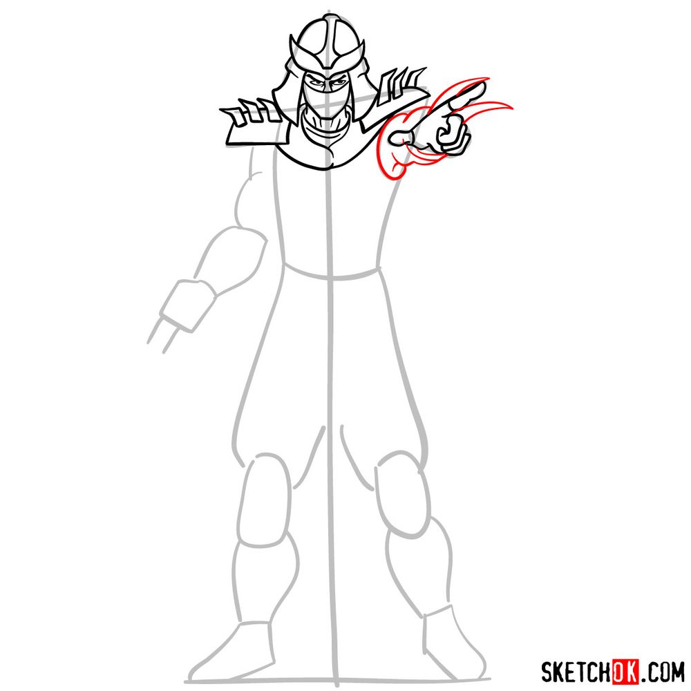 How to draw Shredder - step 09