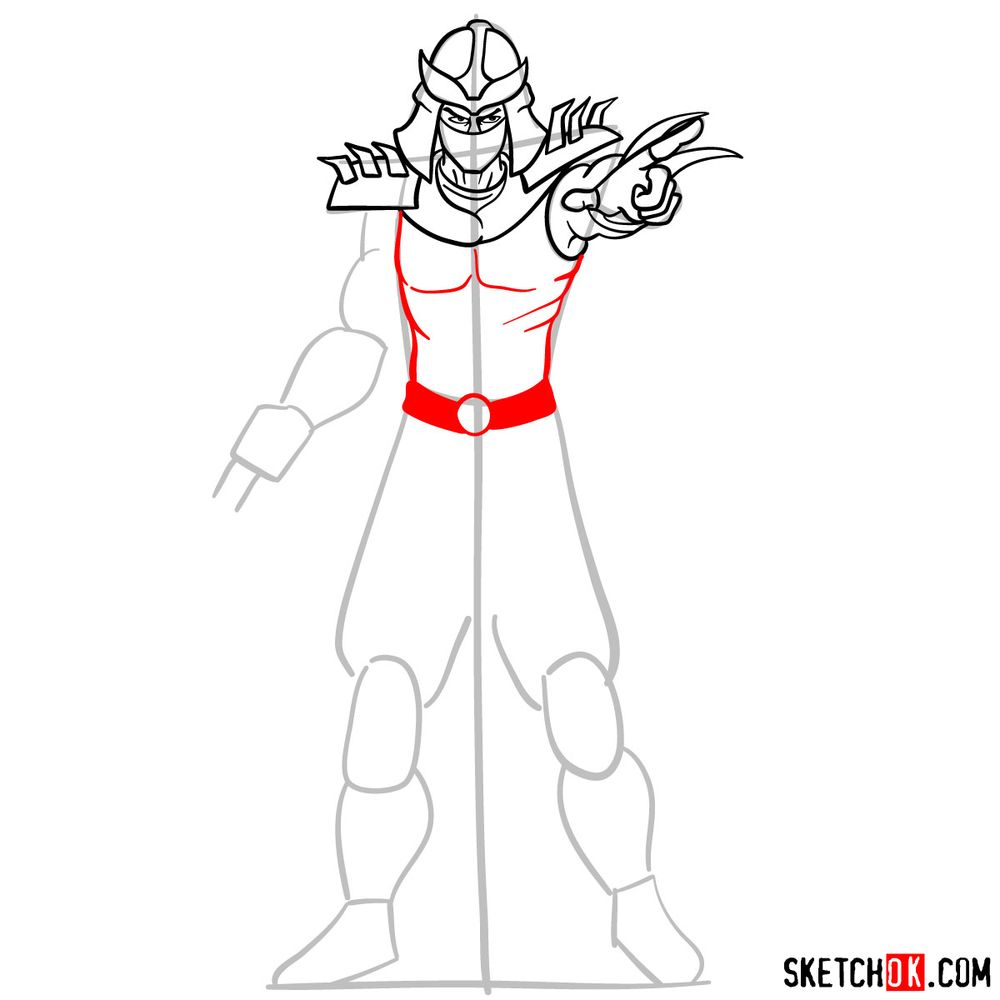 How to draw Shredder - step 10