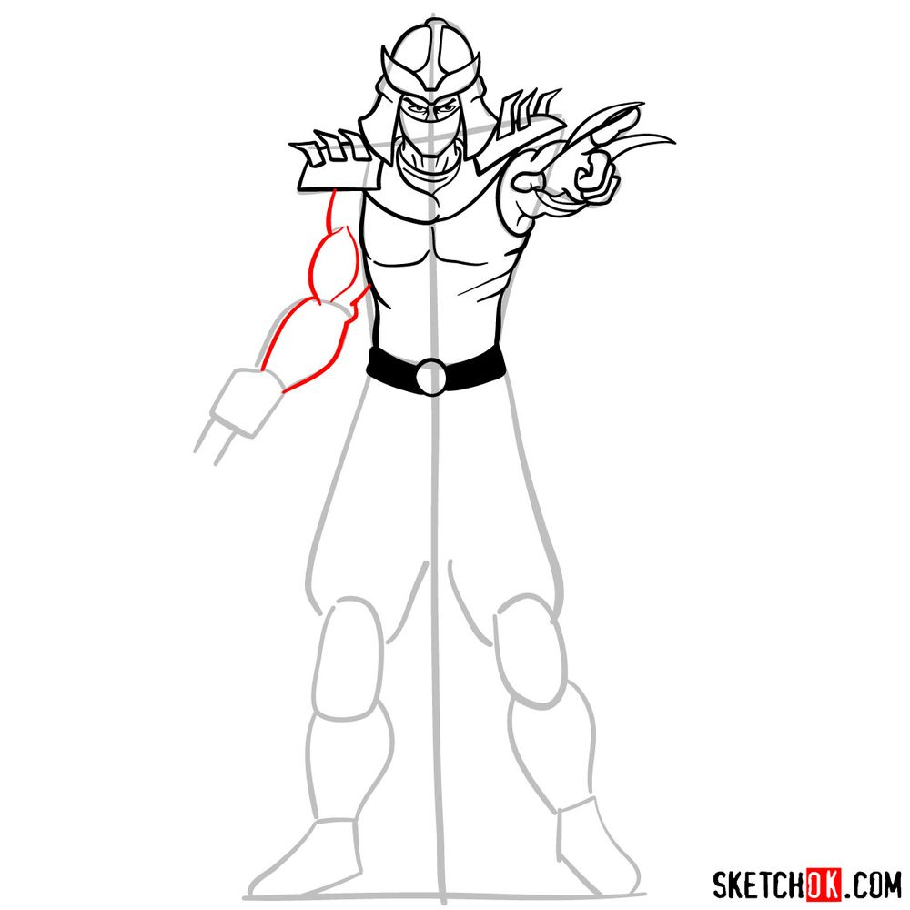 How to draw Shredder - step 11