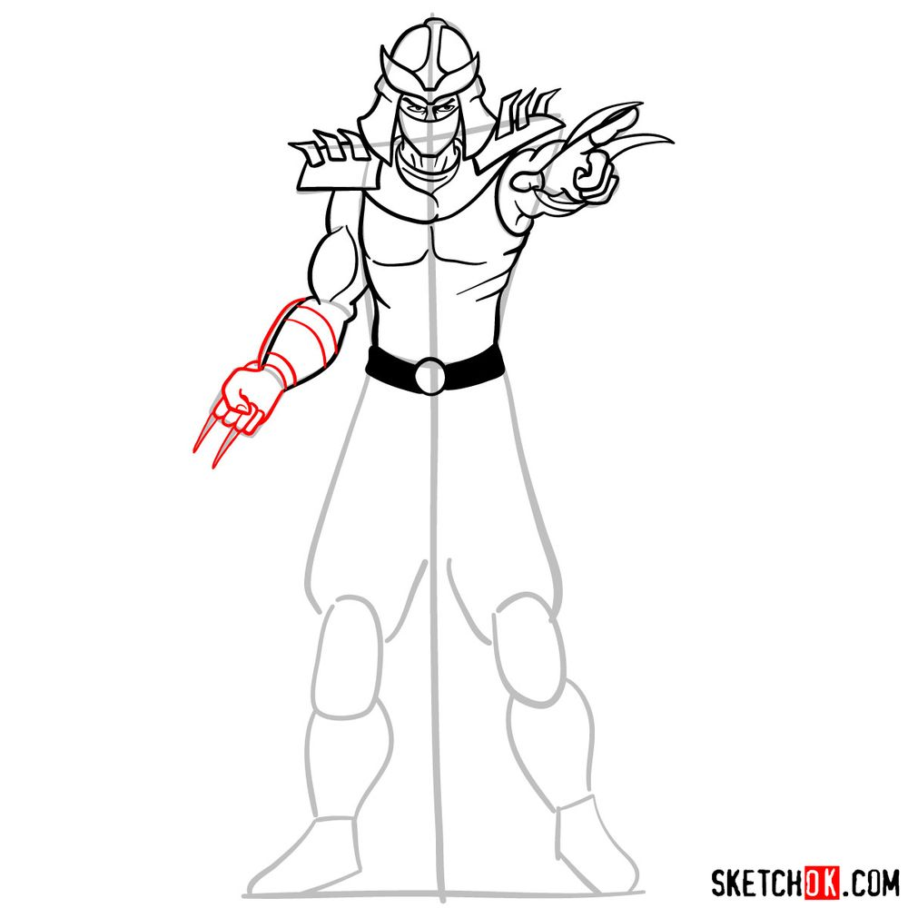 How to draw Shredder - step 12