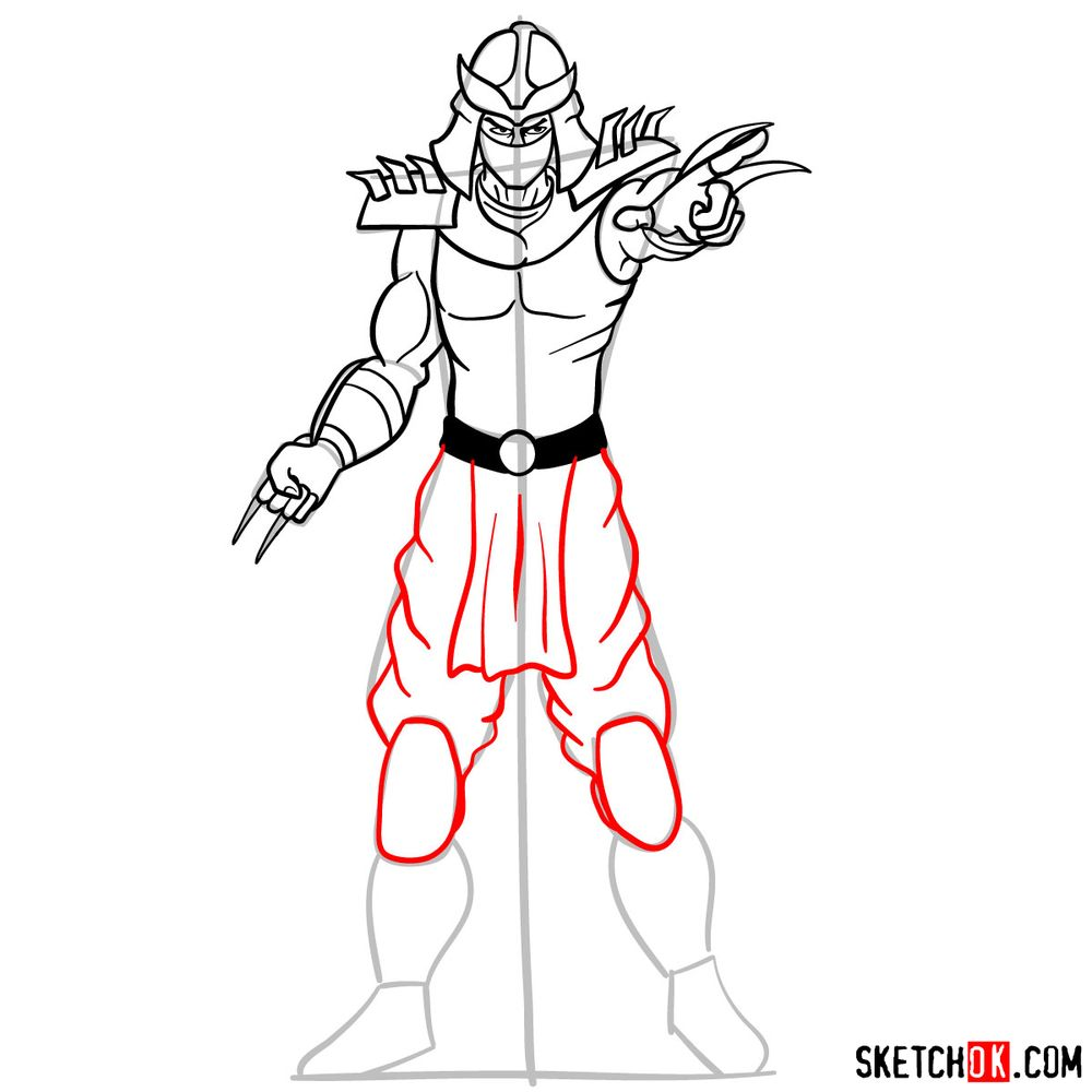 How to draw Shredder - step 13