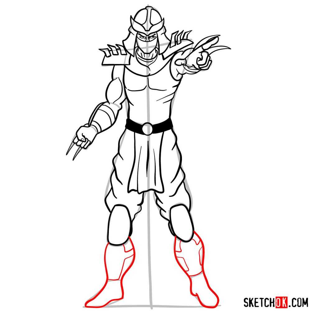 How to draw Shredder - step 14
