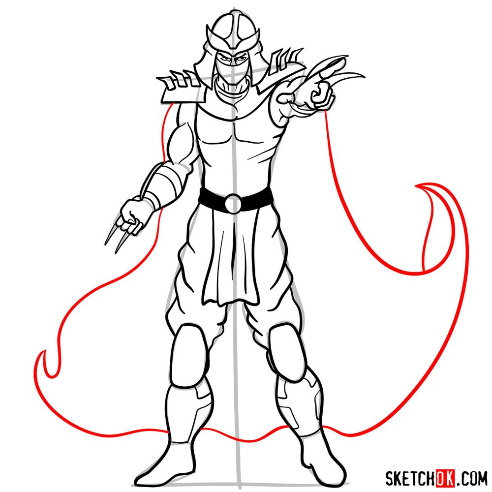 How to draw Shredder - step 15