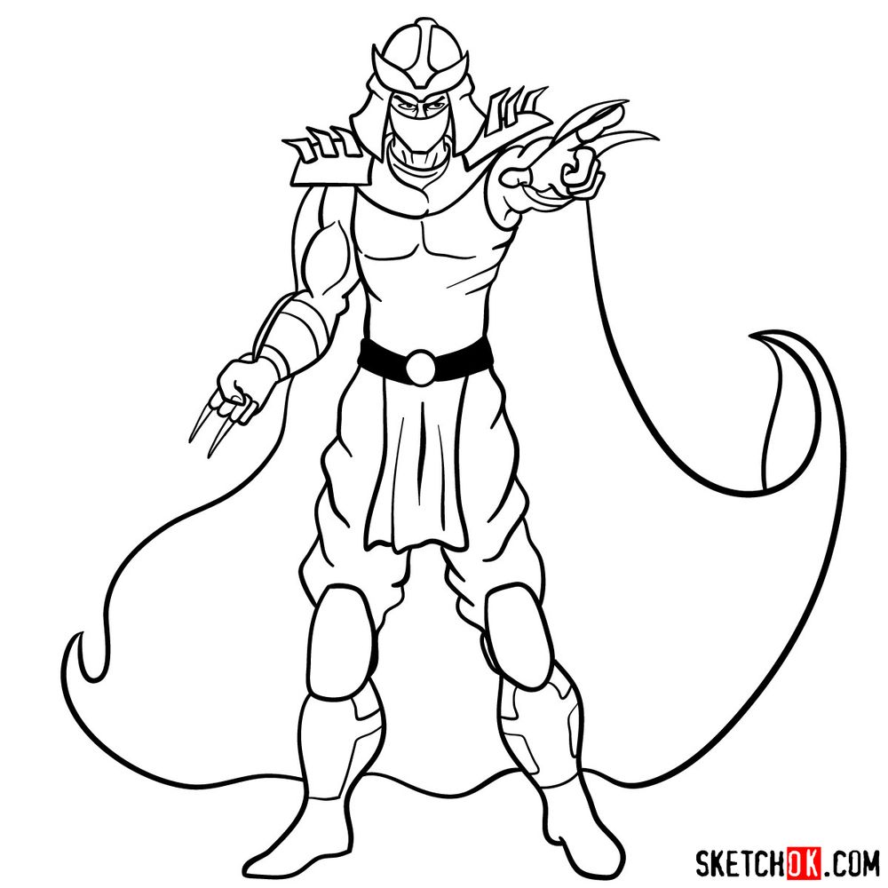 How to draw Shredder - step 16
