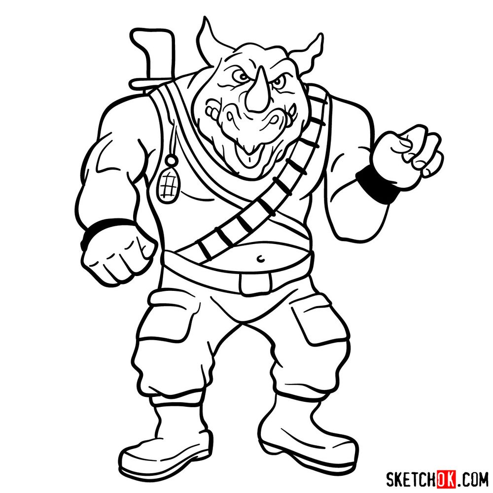 How to draw Rocksteady - step 15