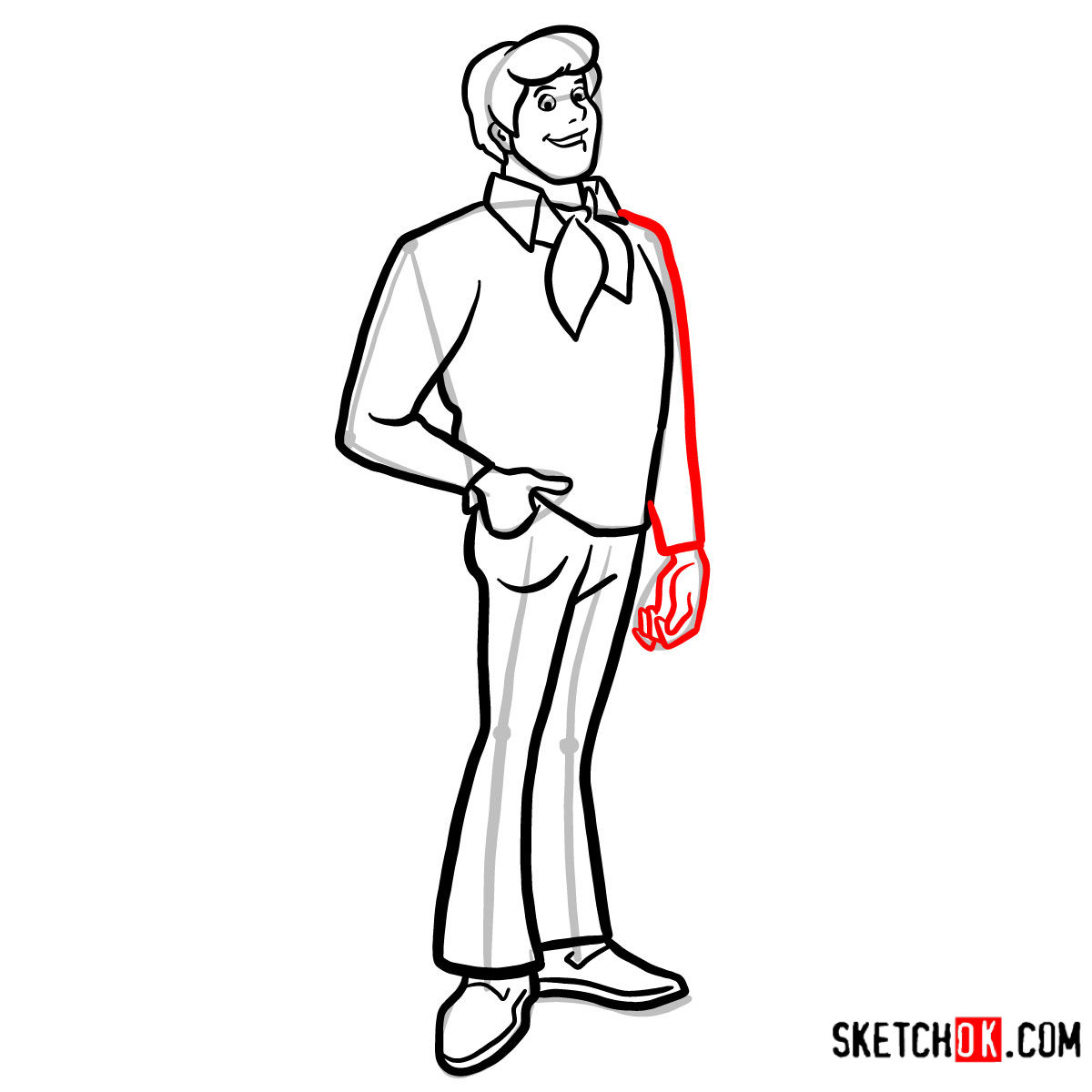 How to draw Fred Jones | Scooby Doo - step 10