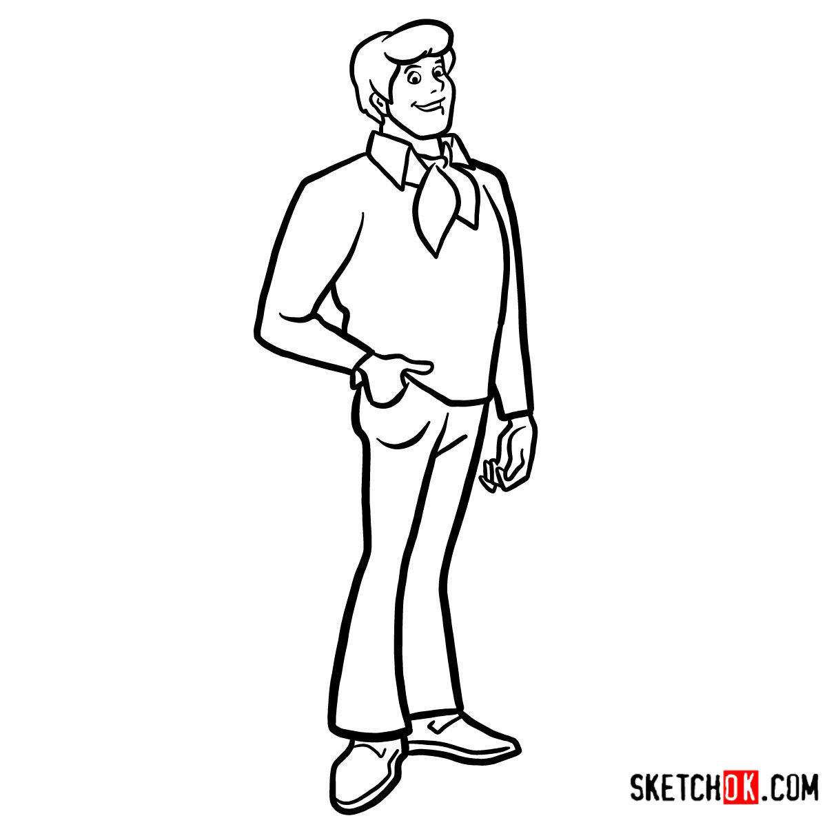 How to draw Fred Jones | Scooby Doo