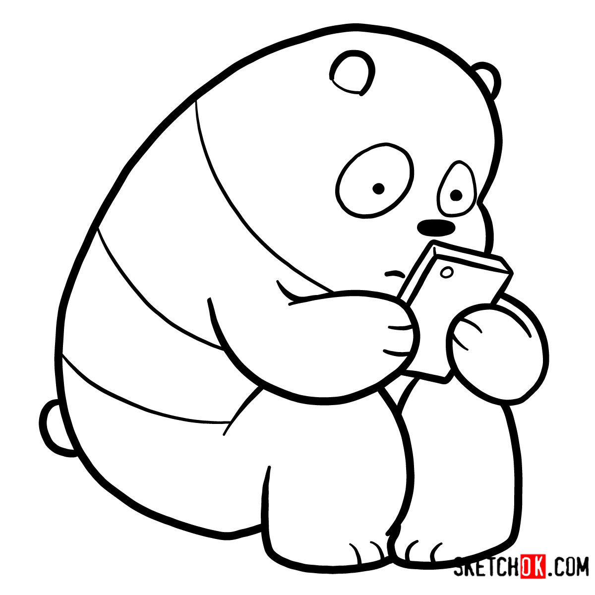 How to draw Panda Bear with a smartphone | We Bare Bears - step 08