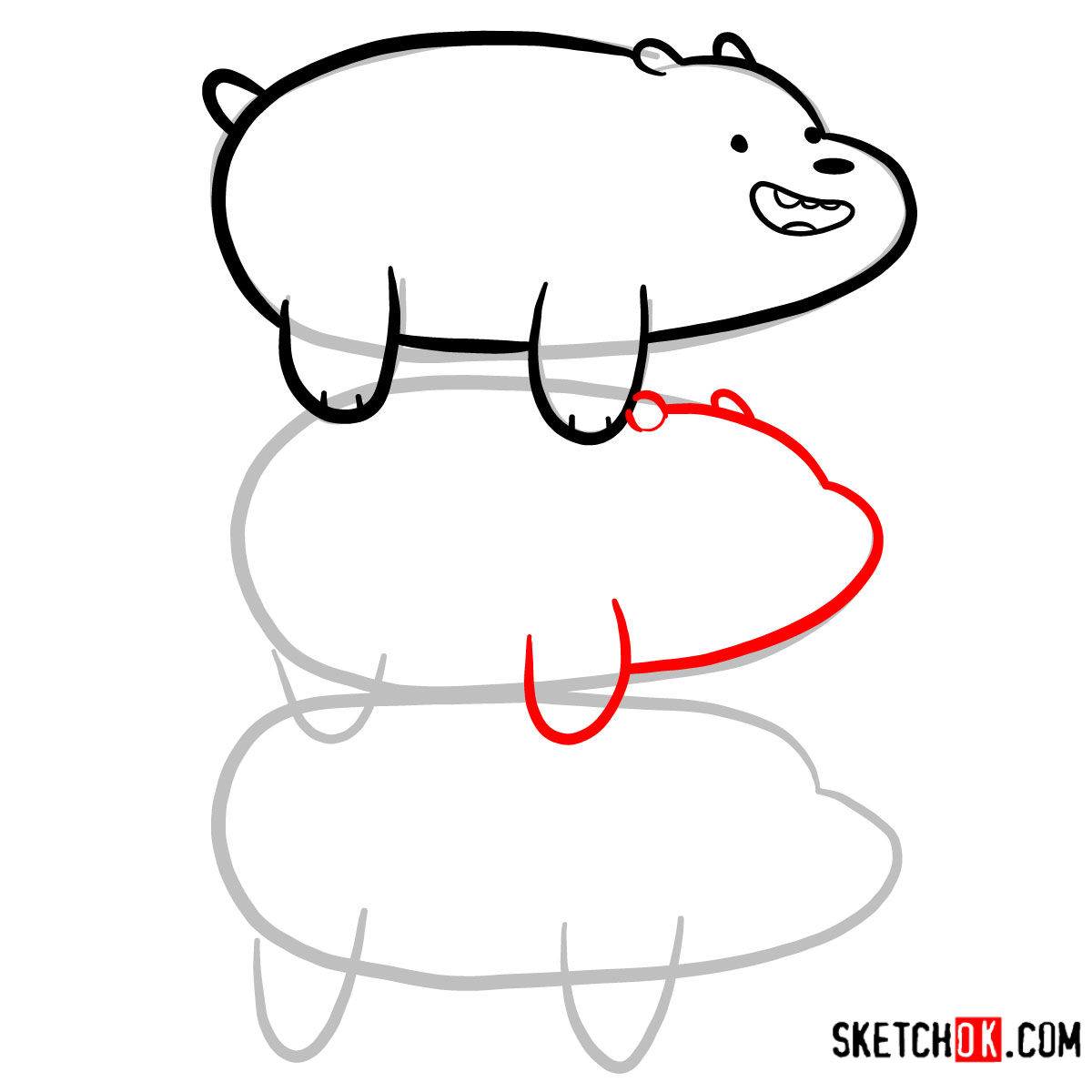 How to draw the bears standing on each others back | We Bare Bears - step 06