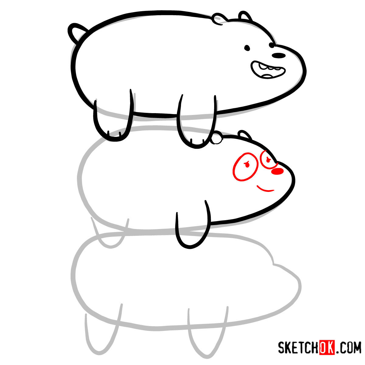 How to draw the bears standing on each others back | We Bare Bears - step 07