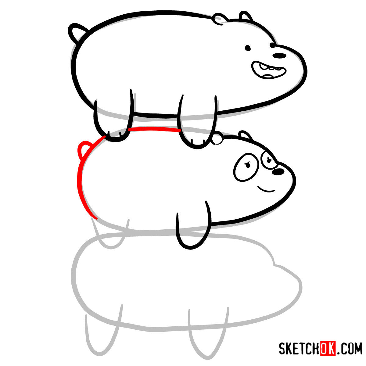 How to draw the bears standing on each others back | We Bare Bears - step 08