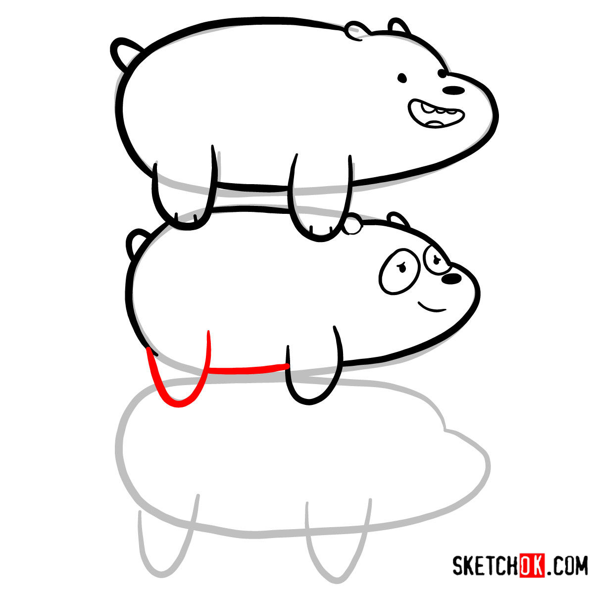 How to draw the bears standing on each others back | We Bare Bears - step 09