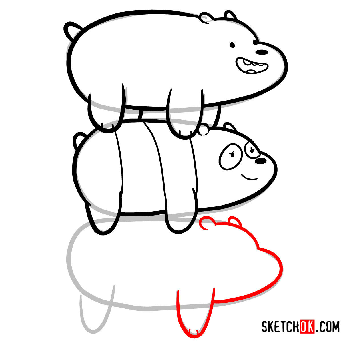 How to draw the bears standing on each others back | We Bare Bears - step 11