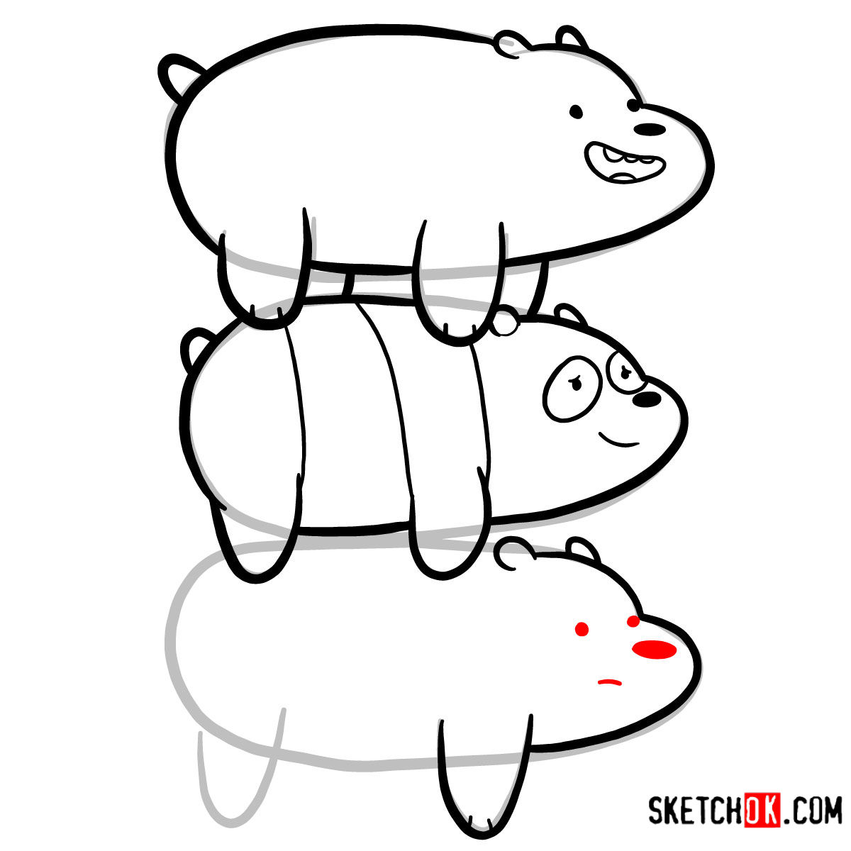 How to draw the bears standing on each others back | We Bare Bears - step 12