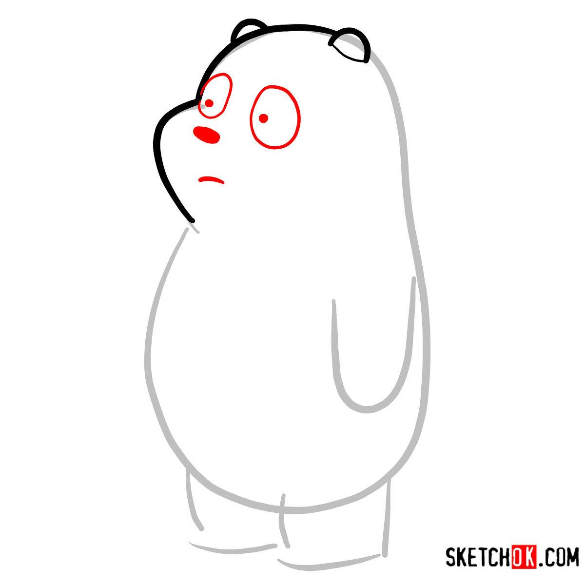 How to draw Panda Bear   We Bare Bears - step 03