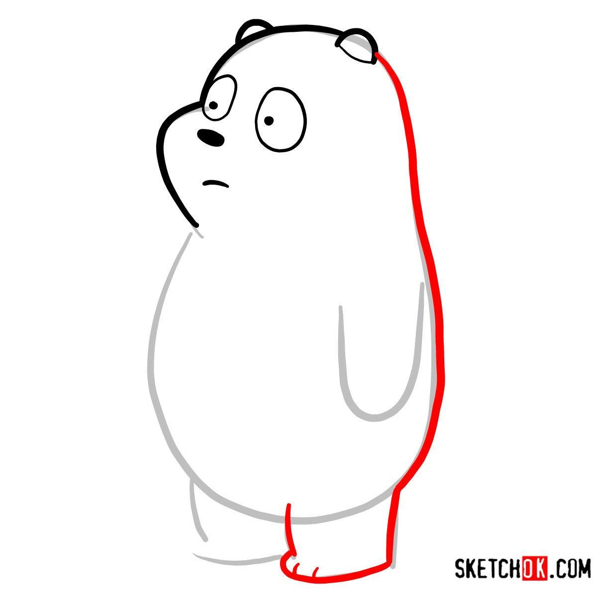 How to draw Panda Bear   We Bare Bears - step 04