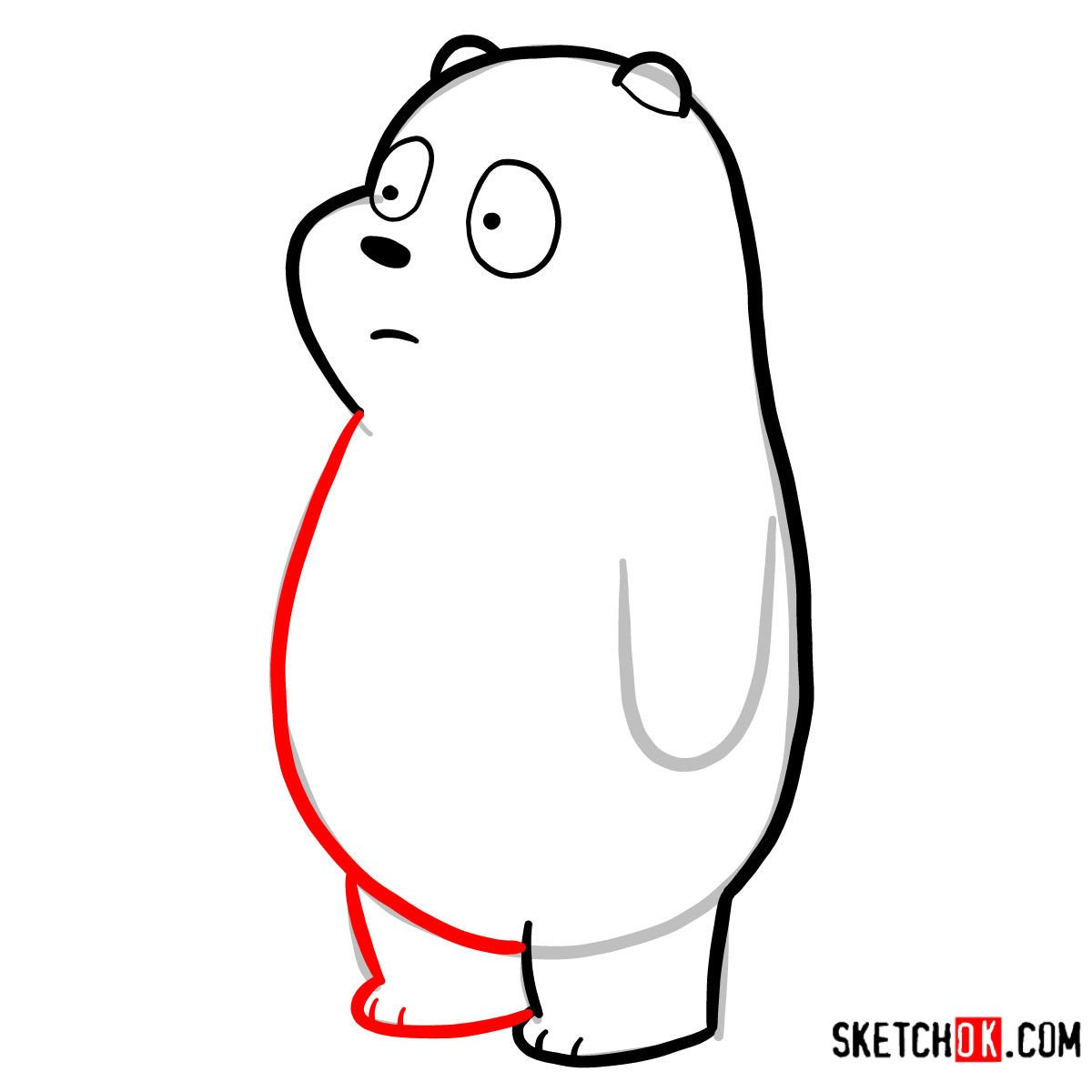 How to draw Panda Bear   We Bare Bears - step 05