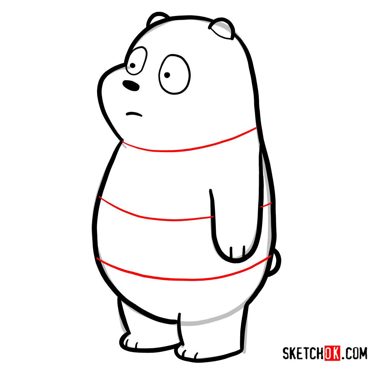 How to draw Panda Bear   We Bare Bears - step 07