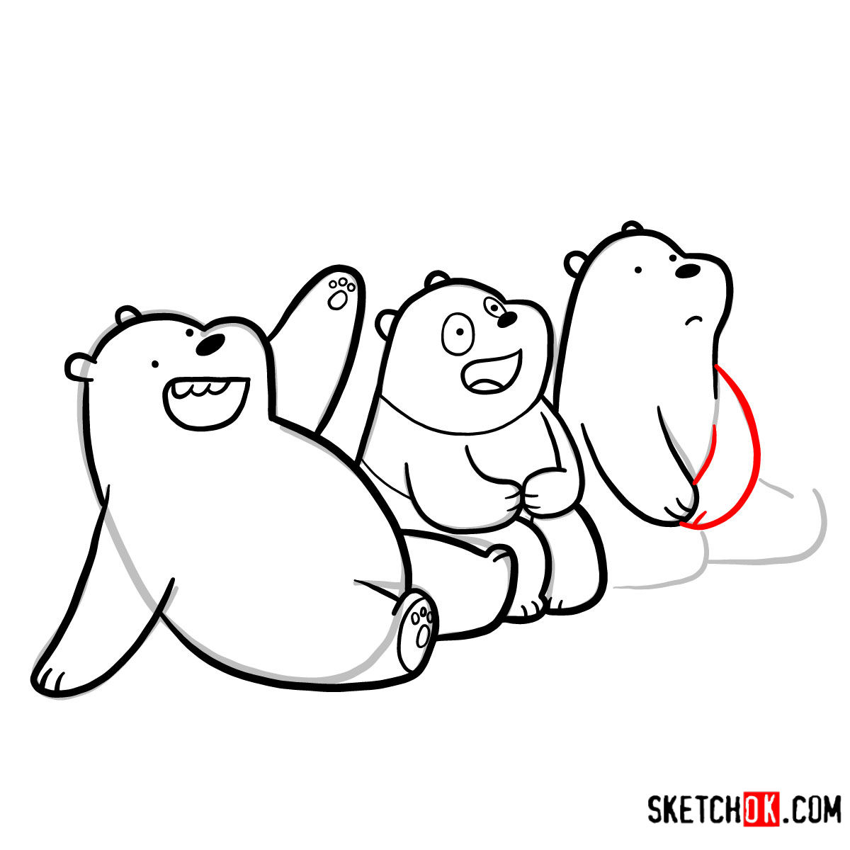 How to draw all three bears together | We Bare Bears - step 19