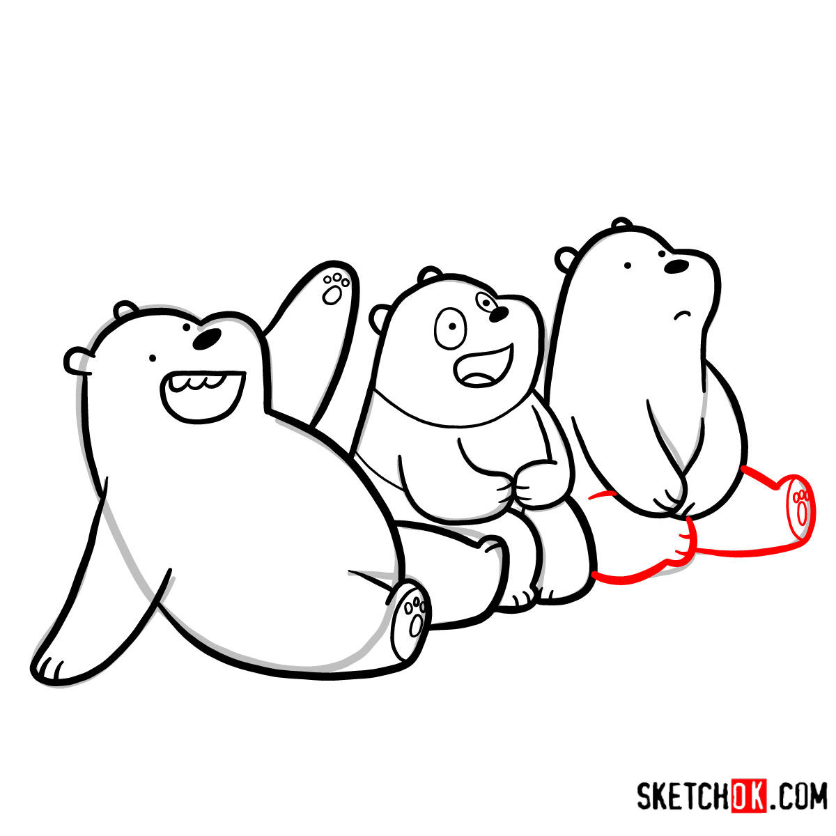 How to draw all three bears together | We Bare Bears - step 20