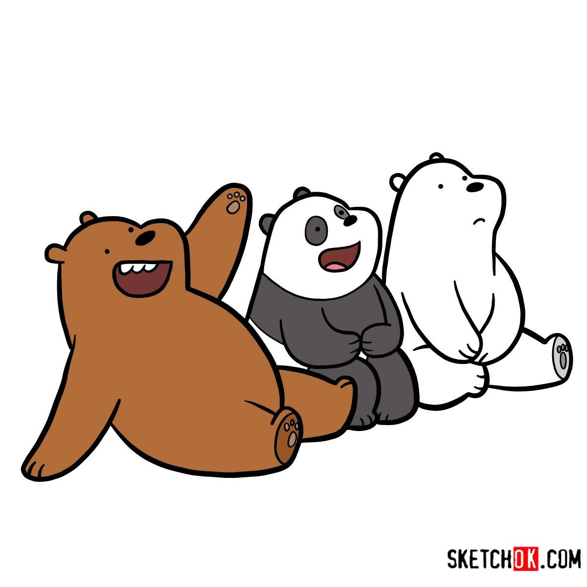 How to draw all three bears together | We Bare Bears - coloring