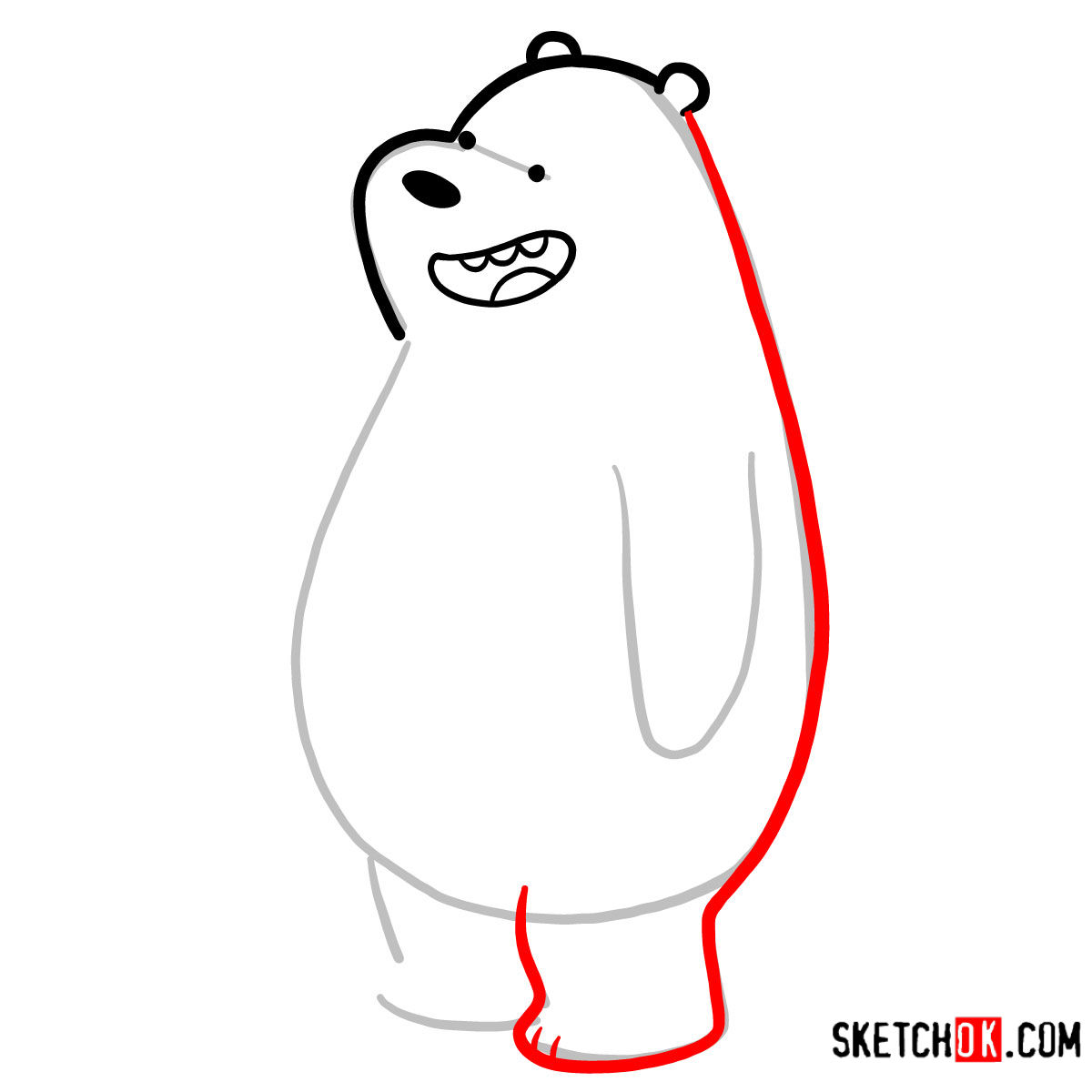 How to draw Grizz full growth | We Bare Bears - step 04