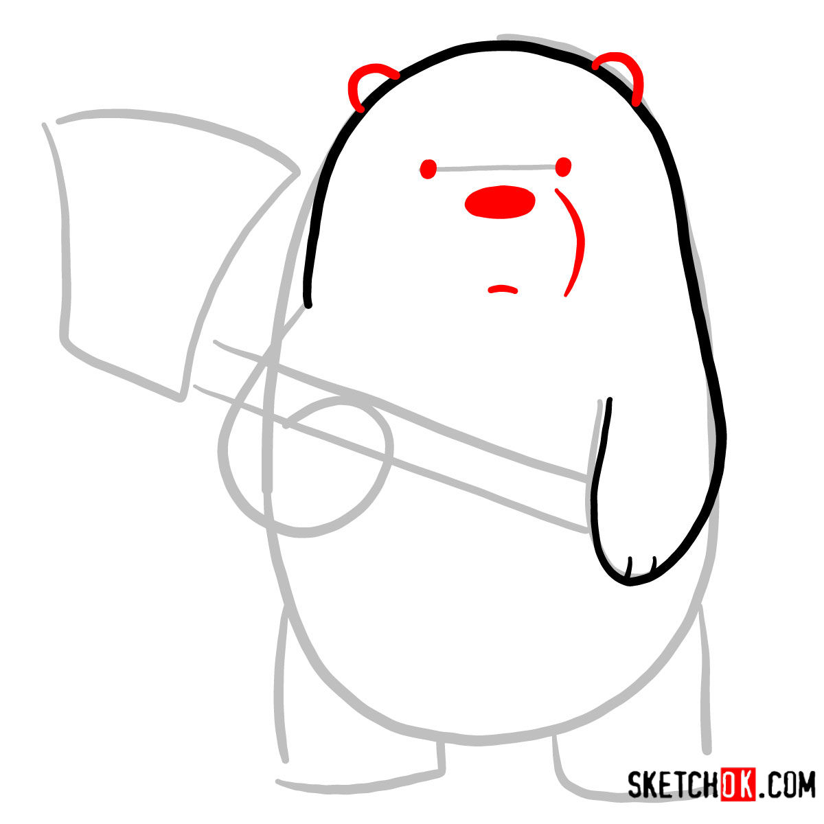 How to draw Ice Bear with an axe | We Bare Bears - step 03