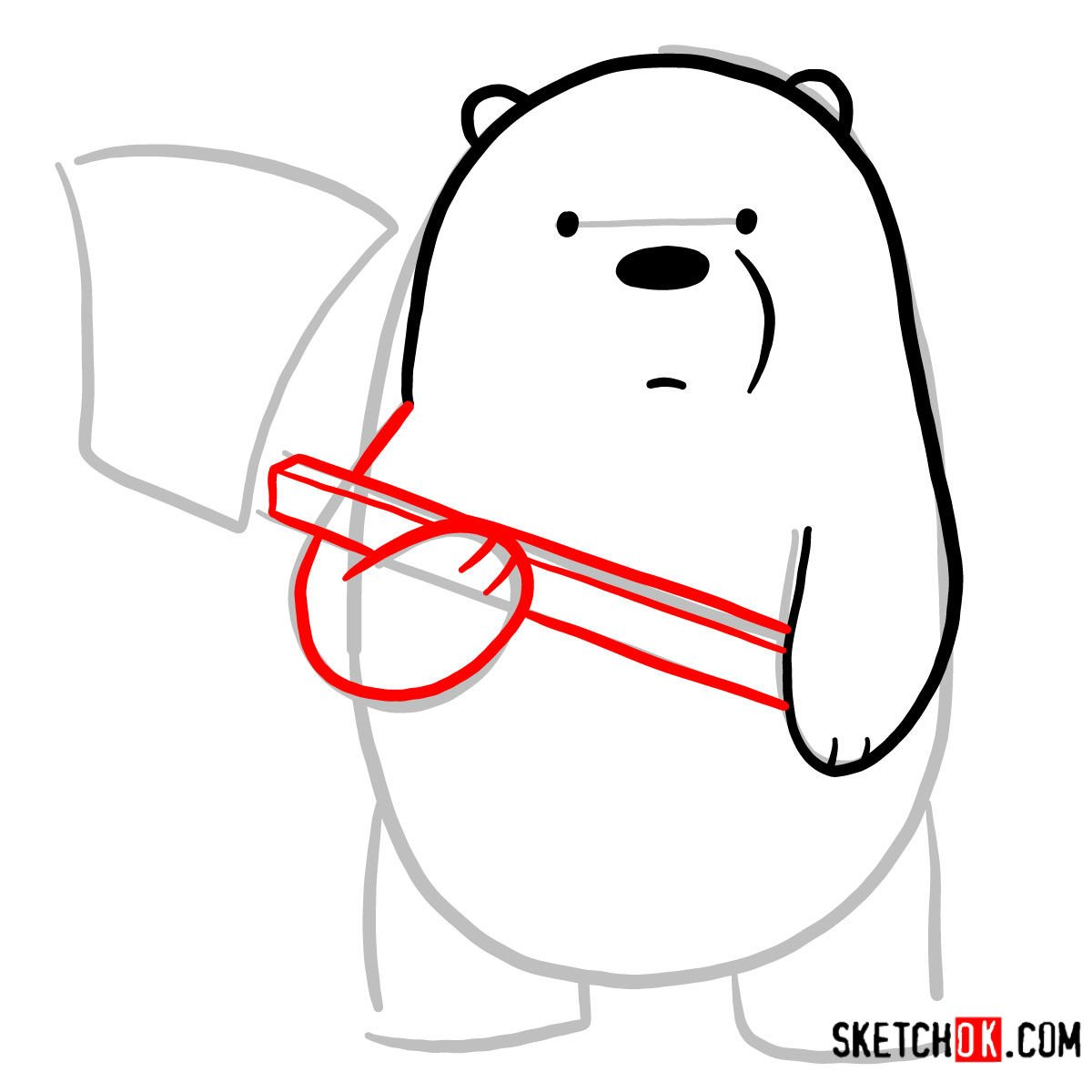 How to draw Ice Bear with an axe | We Bare Bears - step 04