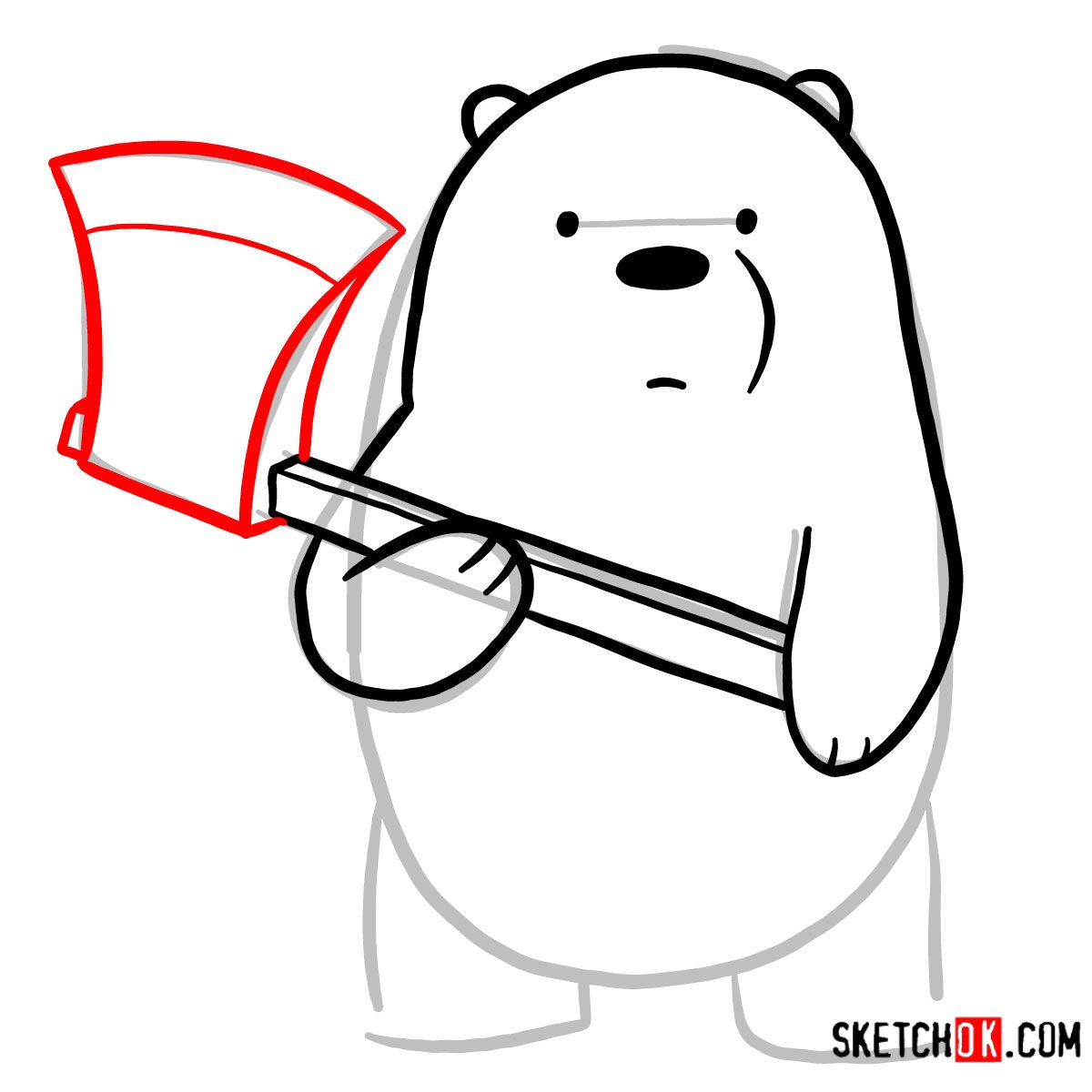 How to draw Ice Bear with an axe | We Bare Bears - step 05