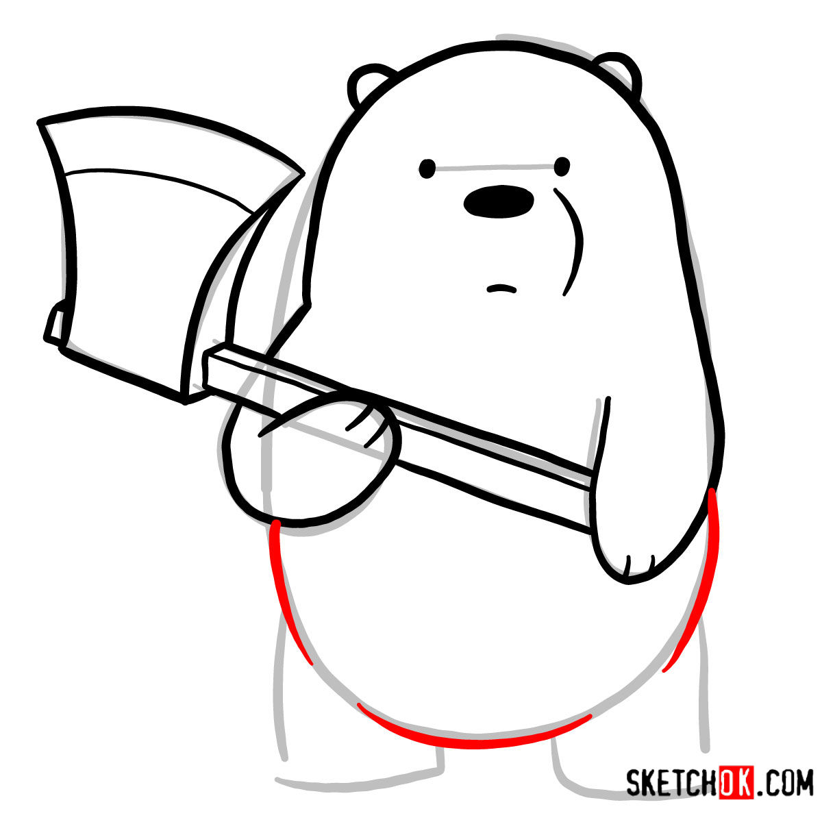 How to draw Ice Bear with an axe | We Bare Bears -  step 06