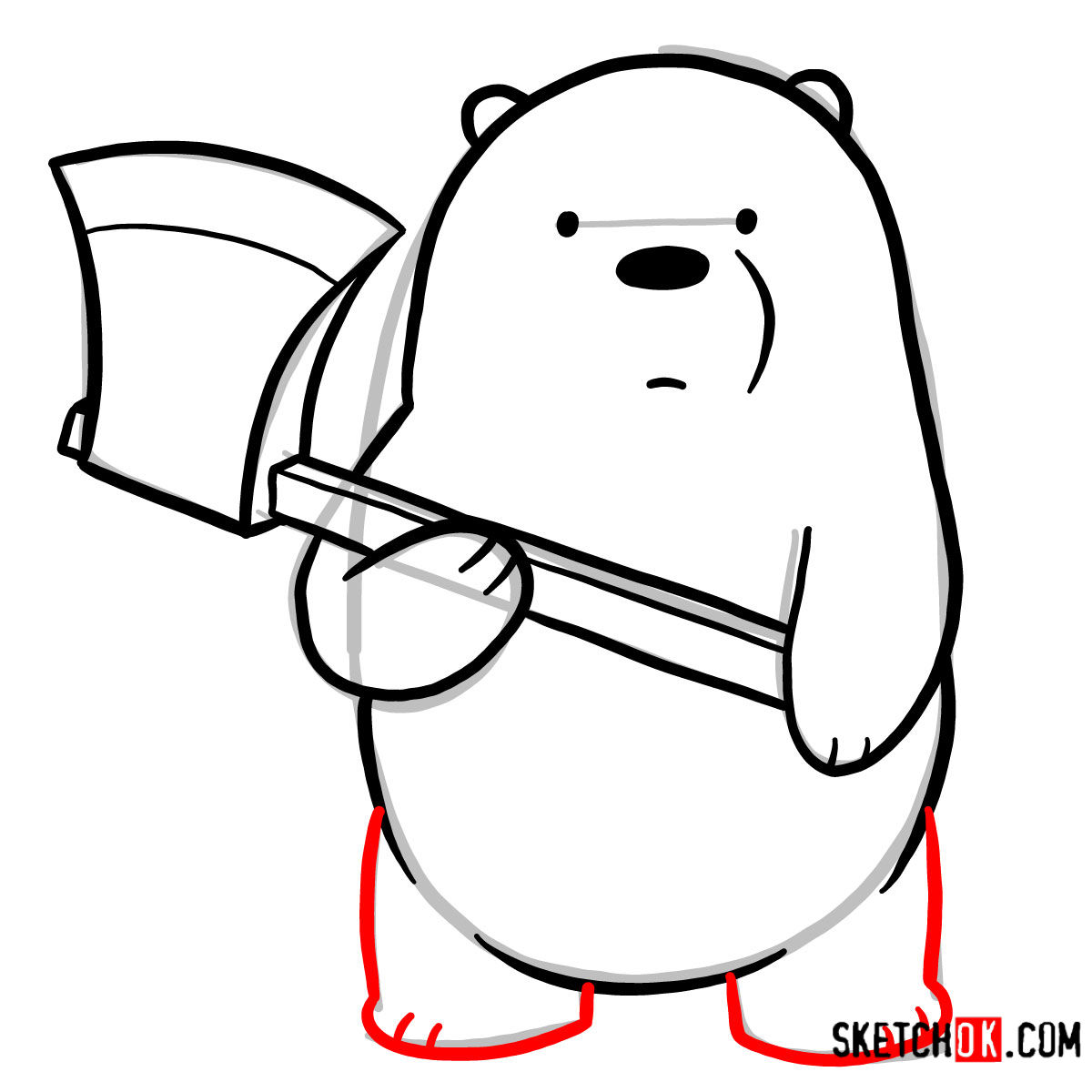 How to draw Ice Bear with an axe | We Bare Bears - step 07