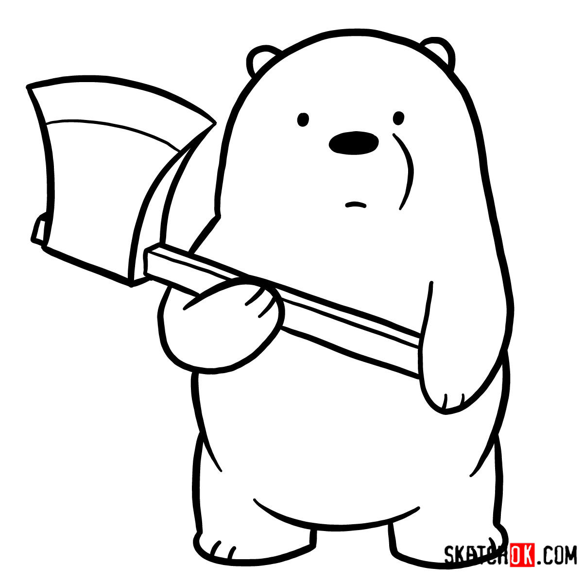 How to draw Ice Bear with an axe | We Bare Bears - step 08