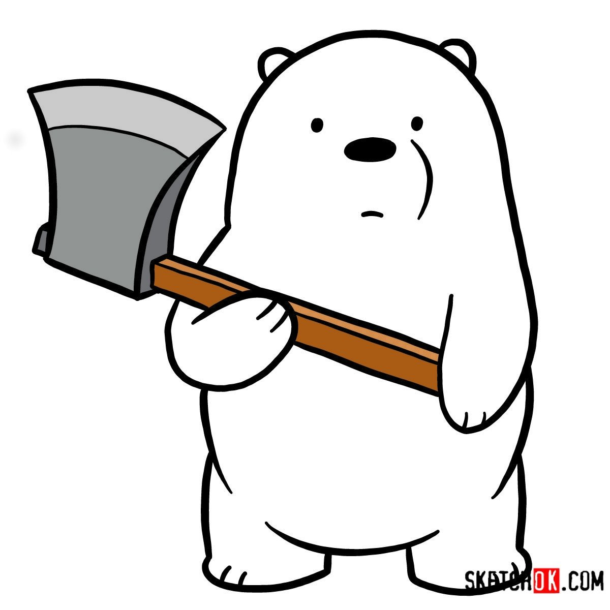 How to draw Ice Bear with an axe | We Bare Bears