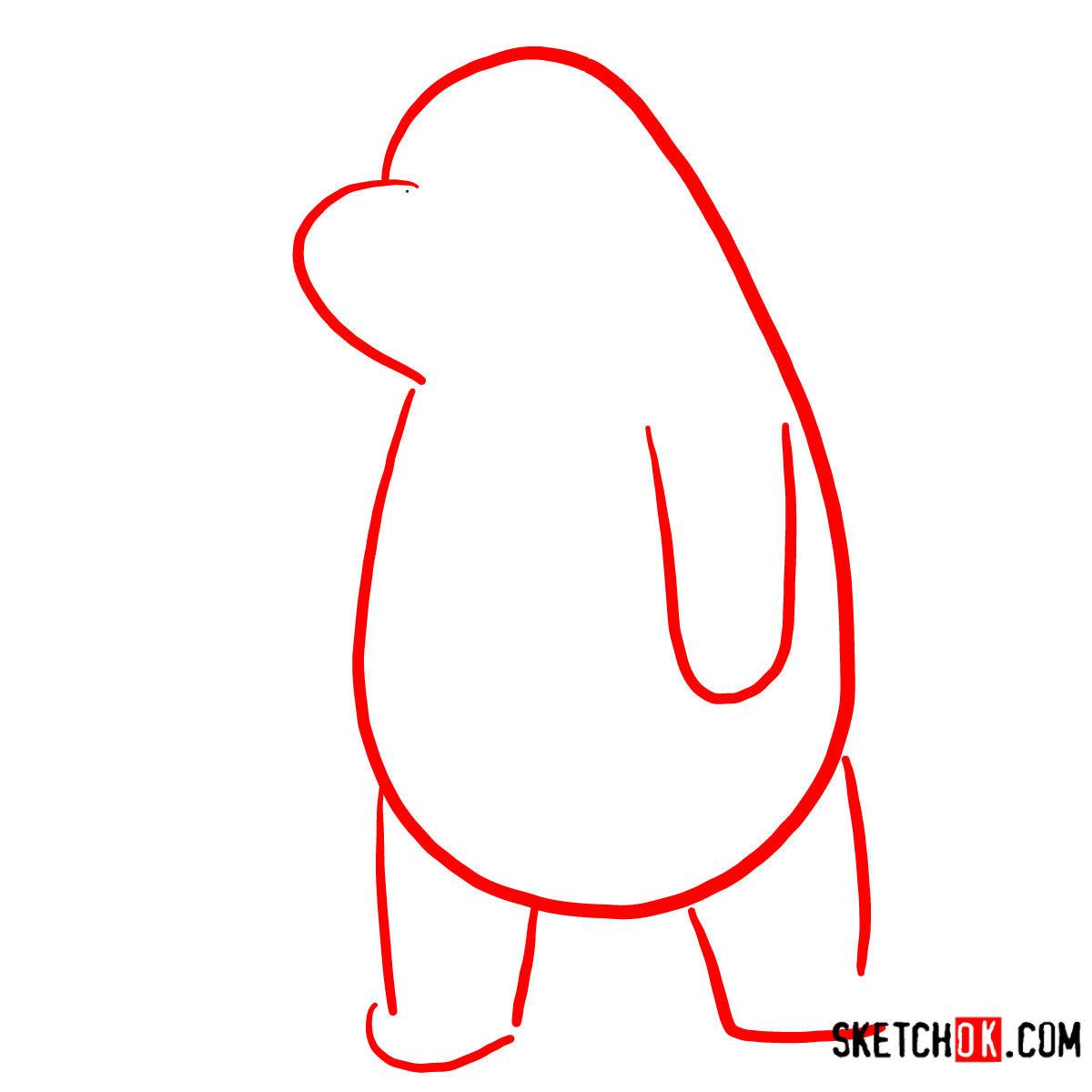 How to draw sad Ice Bear   We Bare Bears - step 01