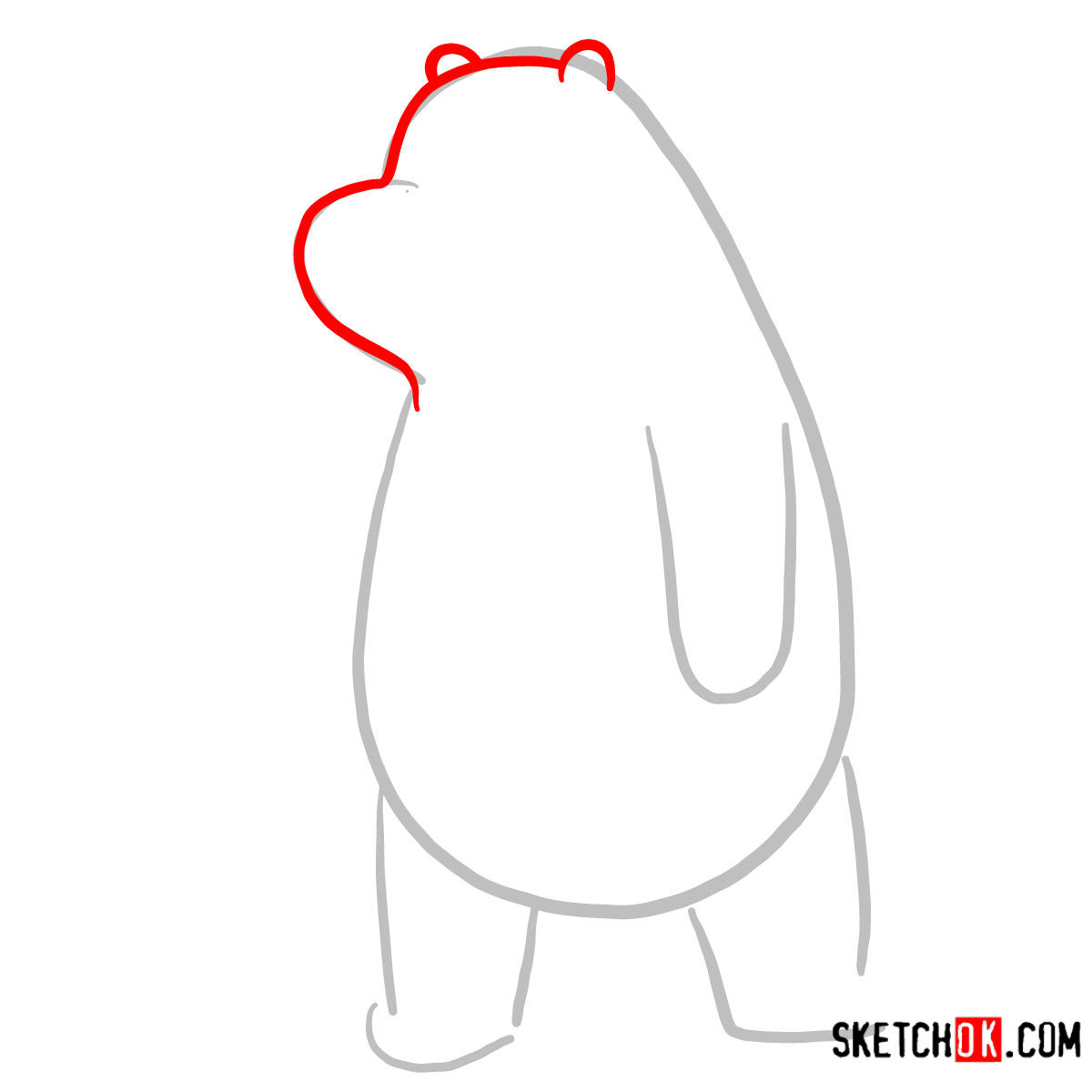How to draw sad Ice Bear   We Bare Bears - step 02