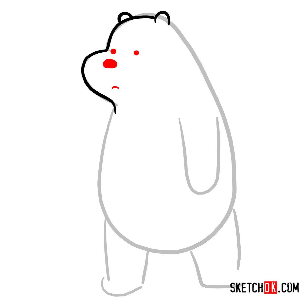 How to draw sad Ice Bear   We Bare Bears - step 03