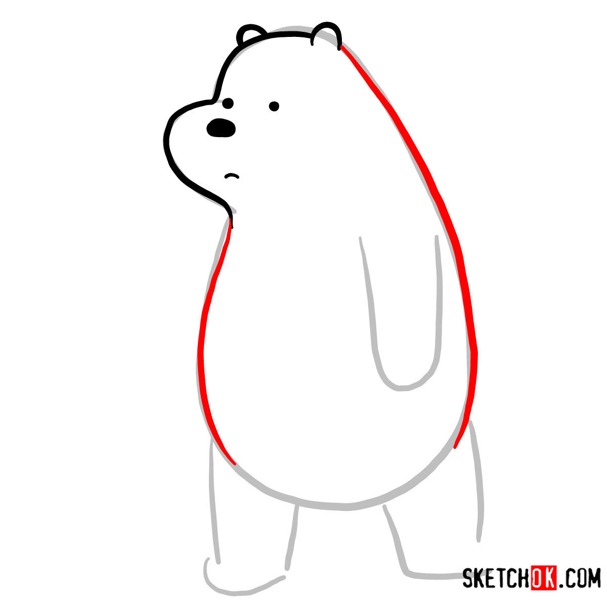 How to draw sad Ice Bear   We Bare Bears - step 04